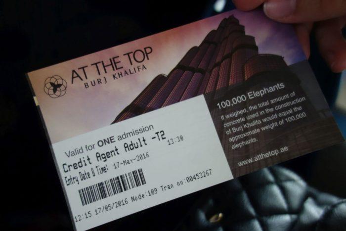 Burj Khalifa - ticket/vstupenka - At the top