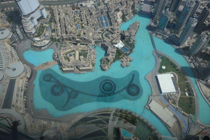 The Dubai Fountain from sky